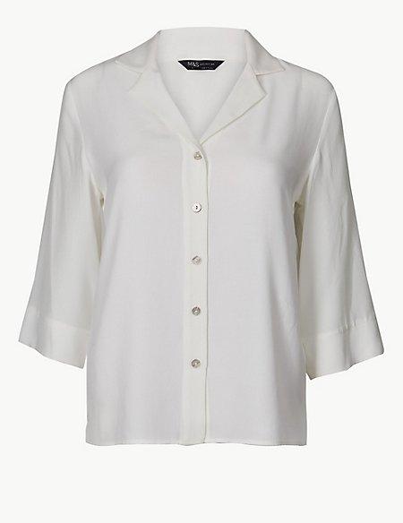 Button Detailed 3/4 Sleeve Shirt
