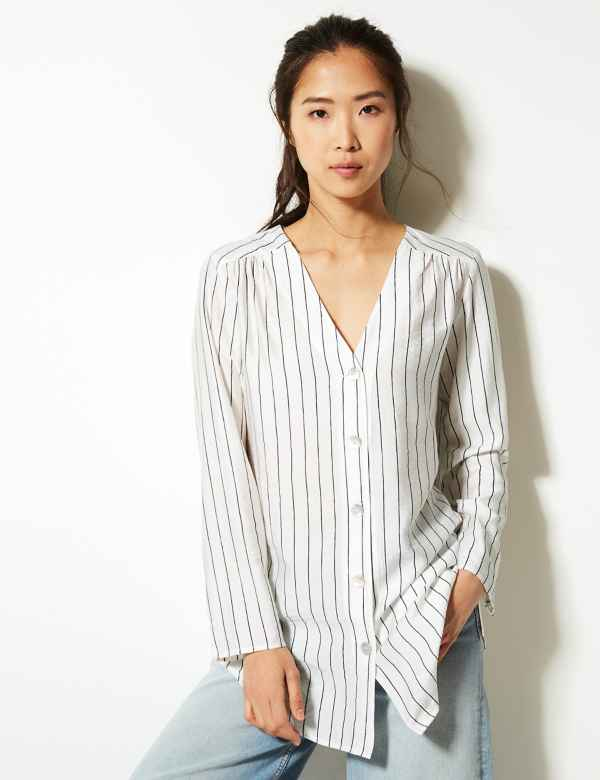 53aadc083d3 Striped Button Detailed Longline Tunic