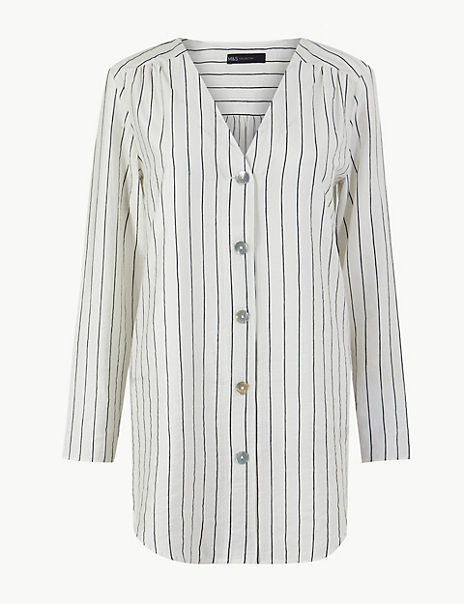 Striped Button Detailed Longline Tunic