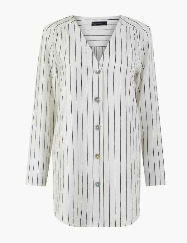06e17c5c08382 Striped Button Detailed Longline Tunic