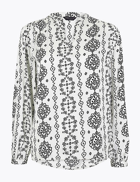 Washed Satin Printed Long Sleeve Blouse