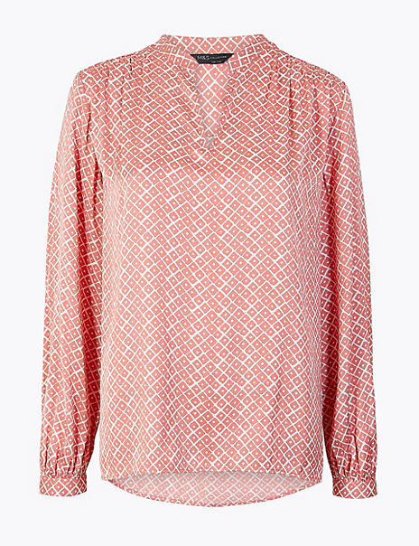 Washed Satin Printed Relaxed Fit Blouse