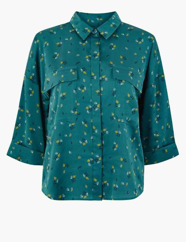 e37a9df5b2fc73 Oversized Satin Floral Print Shirt