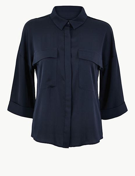 Oversized Satin 3/4 Sleeve Shirt