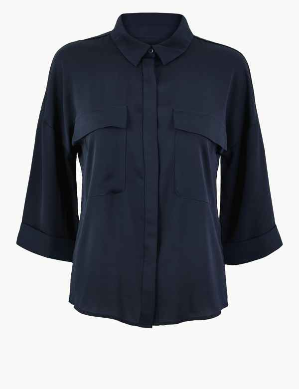 0aa61047d6 Oversized Satin 3/4 Sleeve Shirt