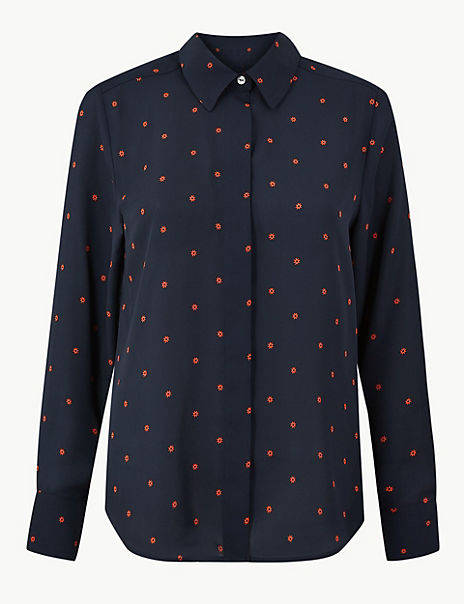 Printed Button Detailed Shirt