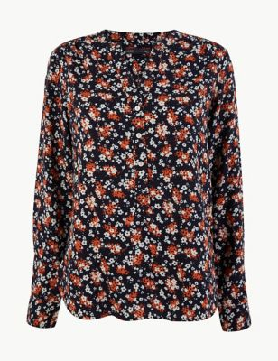 Ditsy Floral Popover Blouse by Marks & Spencer