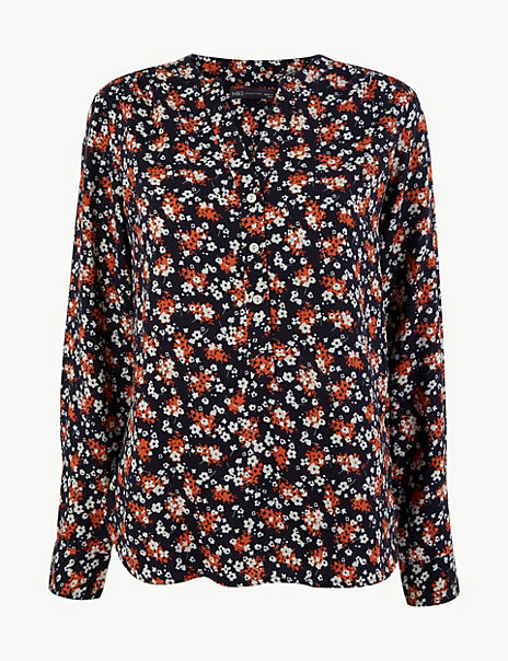 Ditsy Floral Popover Blouse
