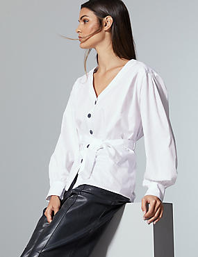 Pure Cotton V-Neck Long Sleeve Shirt