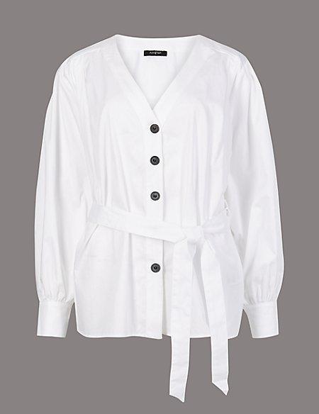 Pure Cotton V-Neck Long Sleeve Shirt
