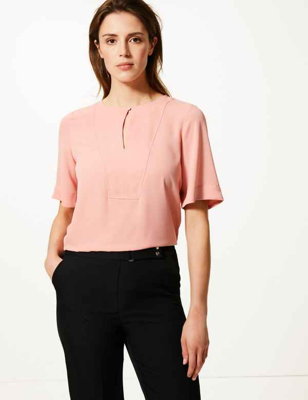 e4d1377264f479 Button Detailed Shell Top. M&S Collection