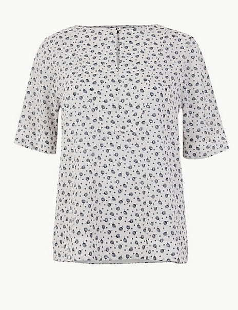 Printed Button Detailed Blouse