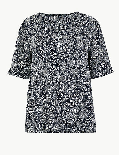 Floral Print Short Sleeve Blouse