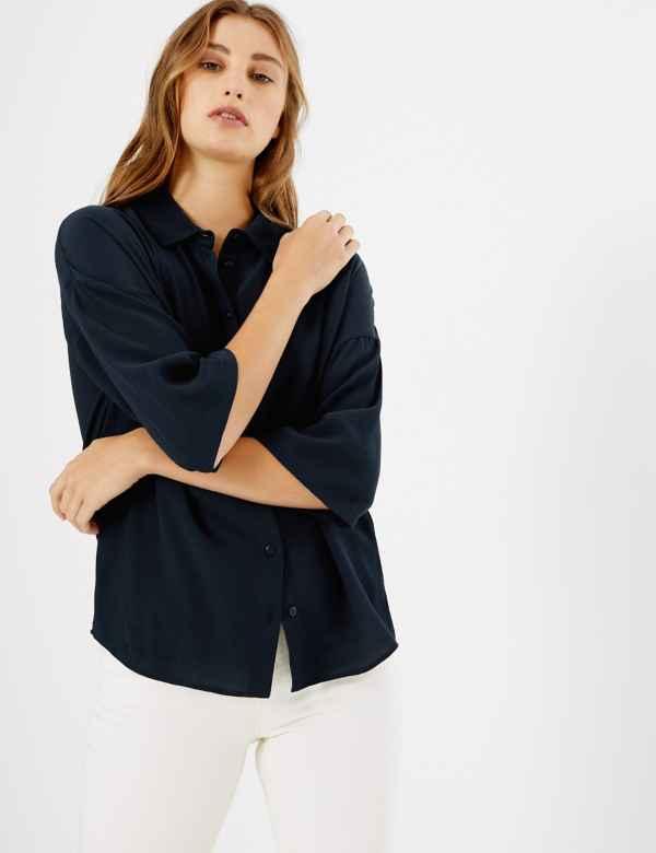 8d61acd118daeb Oversized Button Detailed 3/4 Sleeve Shirt