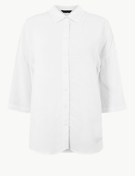 Oversized Button Detailed 3/4 Sleeve Shirt
