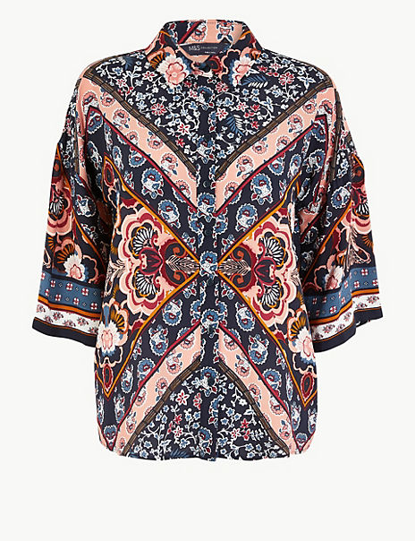 Oversized Floral Print 3/4 Sleeve Shirt