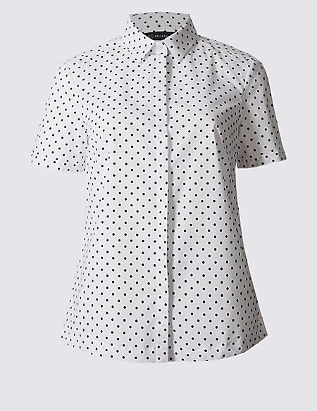 Cotton Rich Spotted Short Sleeve Shirt