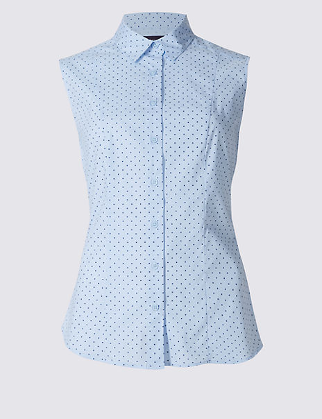 Cotton Rich Spotted Sleeveless Shirt