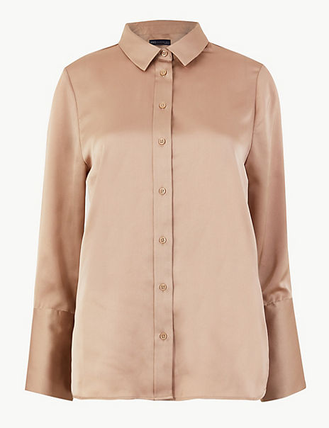 Satin Flared Cuff Shirt