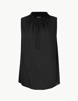Tie Neck Shirred Shell Top by Marks & Spencer