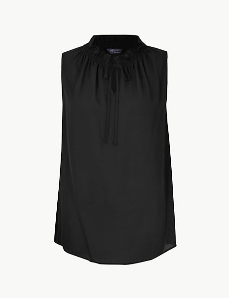 Tie Neck Shirred Shell Top