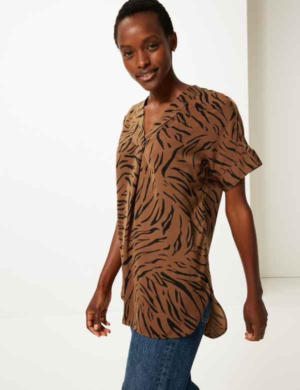 ce8dd0bbbb3fc3 Satin Animal Print Longline Tunic. Online Only. M&S Collection