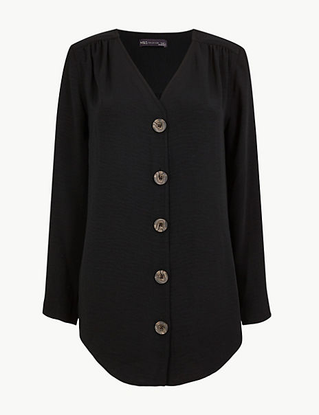 Button Detailed Longline Tunic