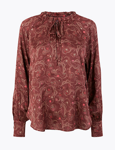 Satin Printed Popover Blouse