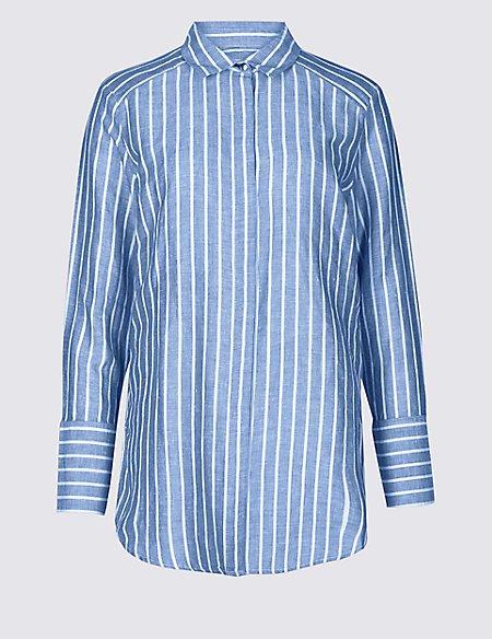 Linen Rich Striped Long Sleeve Shirt