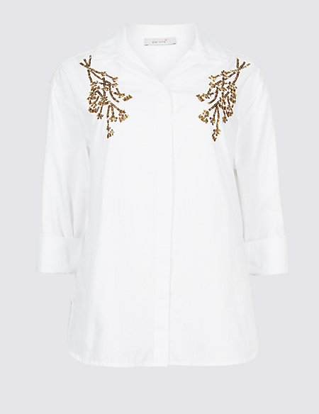 Pure Cotton Embellished Long Sleeve Shirt