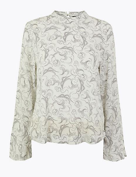 Woven Swirl Print Long Sleeve Top