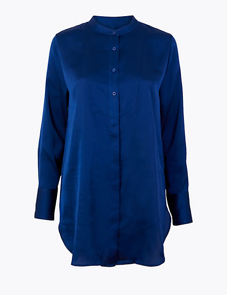 Satin Bib Longline Shirt