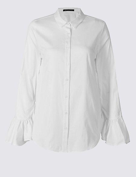Cotton Rich Frill Cuff Shirt