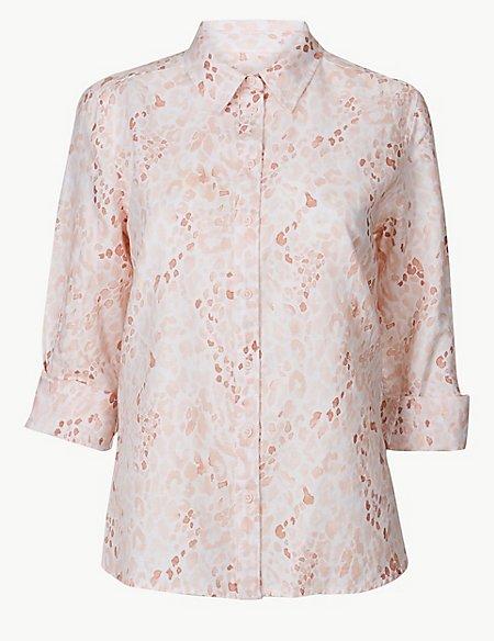 Linen Rich Animal Print Long Sleeve Shirt