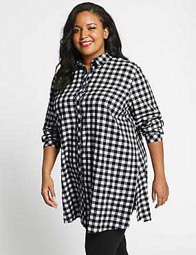 CURVE Pure Cotton Checked Longline Shirt