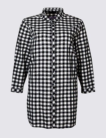 CURVE Pure Cotton Checked Longline Shirt