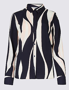 Printed Long Sleeve Crepe Shirt
