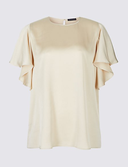 CURVE Round Neck Ruffle Sleeve Satin Blouse camel Marks and Spencer