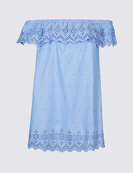 15a5dcaeb68c6 Product images. Skip Carousel. CURVE Pure Cotton Embroidered Bardot Top