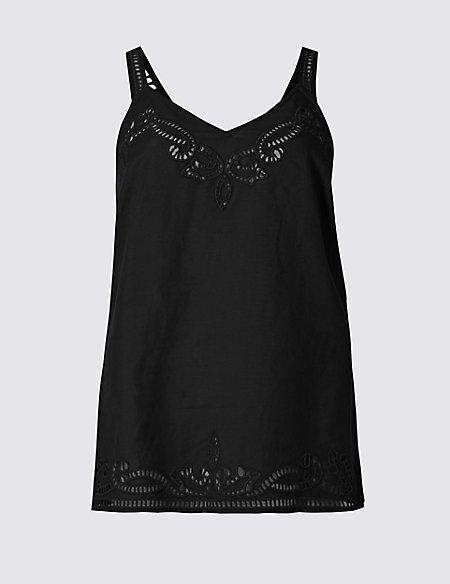 Linen Blend Cutwork Vest Top