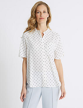 Spotted Crepe Half Sleeve Shirt