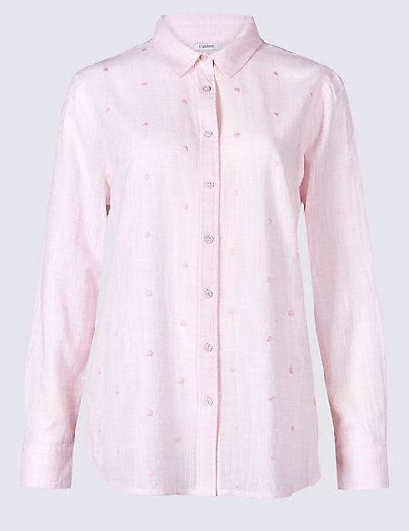 Pure Cotton Embroidered Long Sleeve Shirt