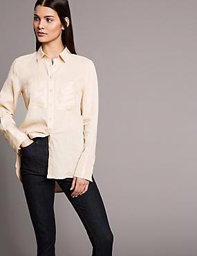 Ramie Pocket Detail Long Sleeve Shirt, PALE YELLOW, catlanding