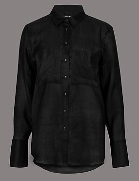 Ramie Pocket Detail Long Sleeve Shirt