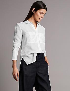 Ramie Pocket Detail Long Sleeve Shirt, WHITE, catlanding