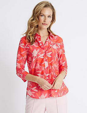 Cotton Rich Floral Print Shirt with Silk