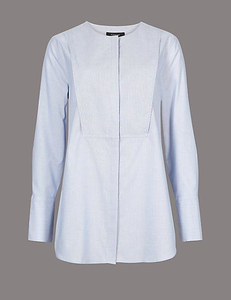 Pure Cotton Round Neck Long Sleeve Shirt