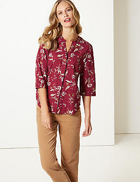 Pure Cotton Floral Print 3/4 Sleeve Blouse