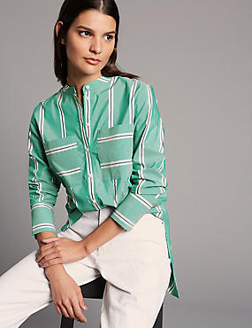 Cotton Blend Striped Longline Shirt