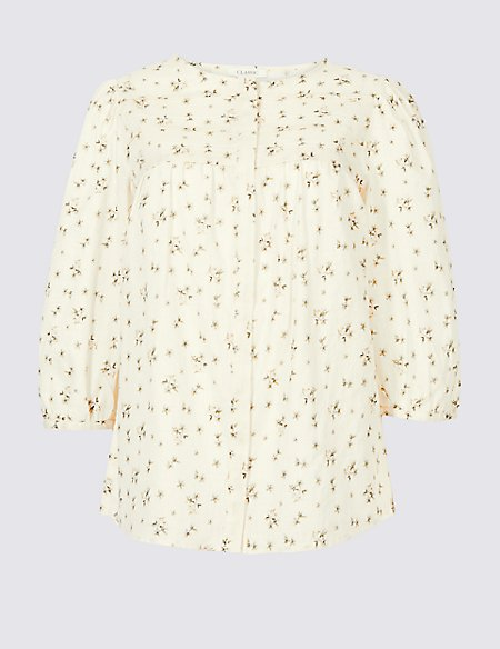 Pure Cotton Printed 3/4 Sleeve Blouse